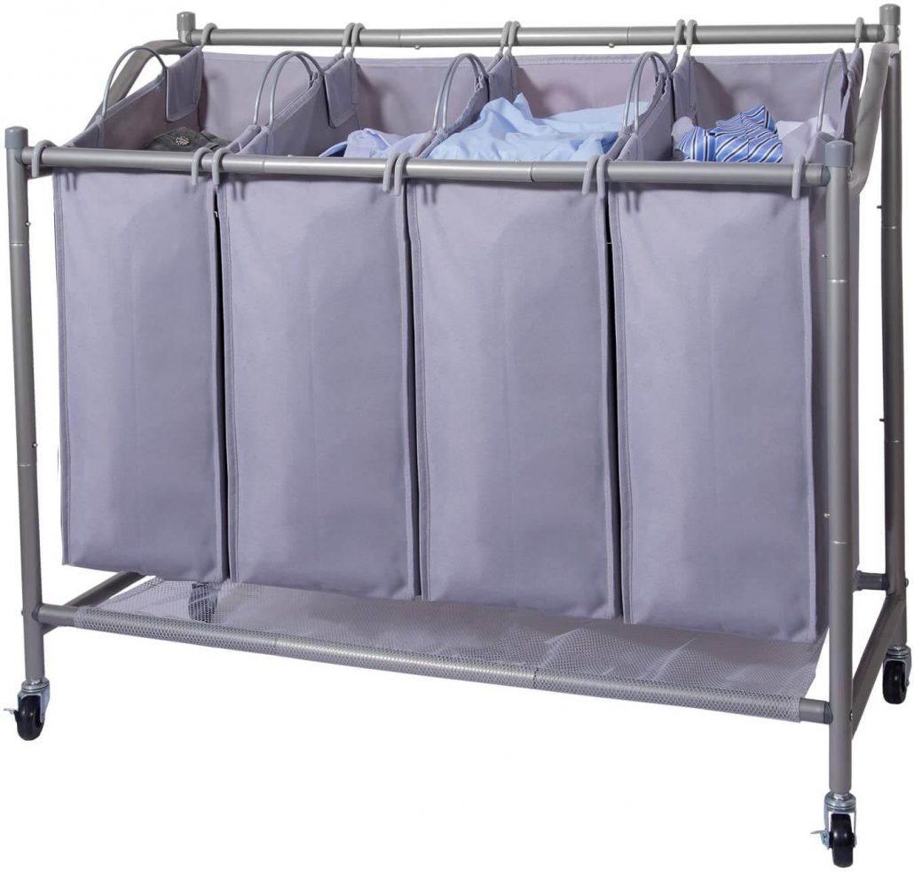 Large 4-bag laundry hamper for sorting laundry.