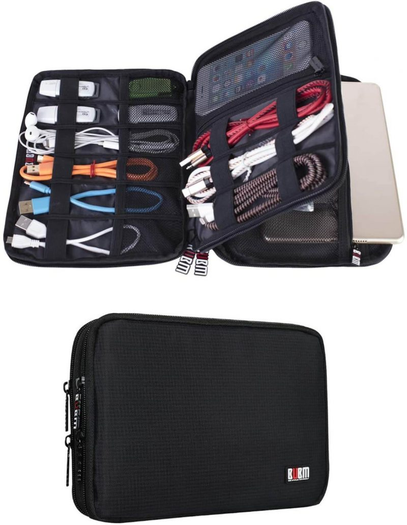 Double layer electronic organizer for home and travel.