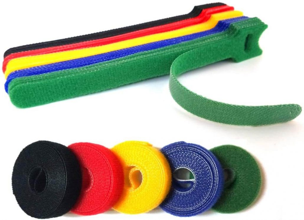 Reusable fastening cable ties for electronic cords.