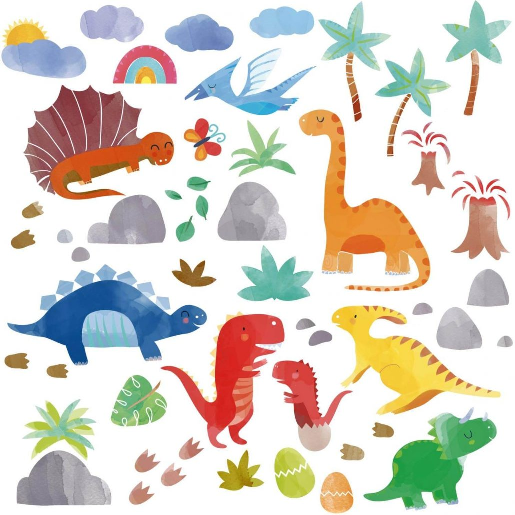 Watercolor dinosaur wall decals for kids room by Cherry Creek.