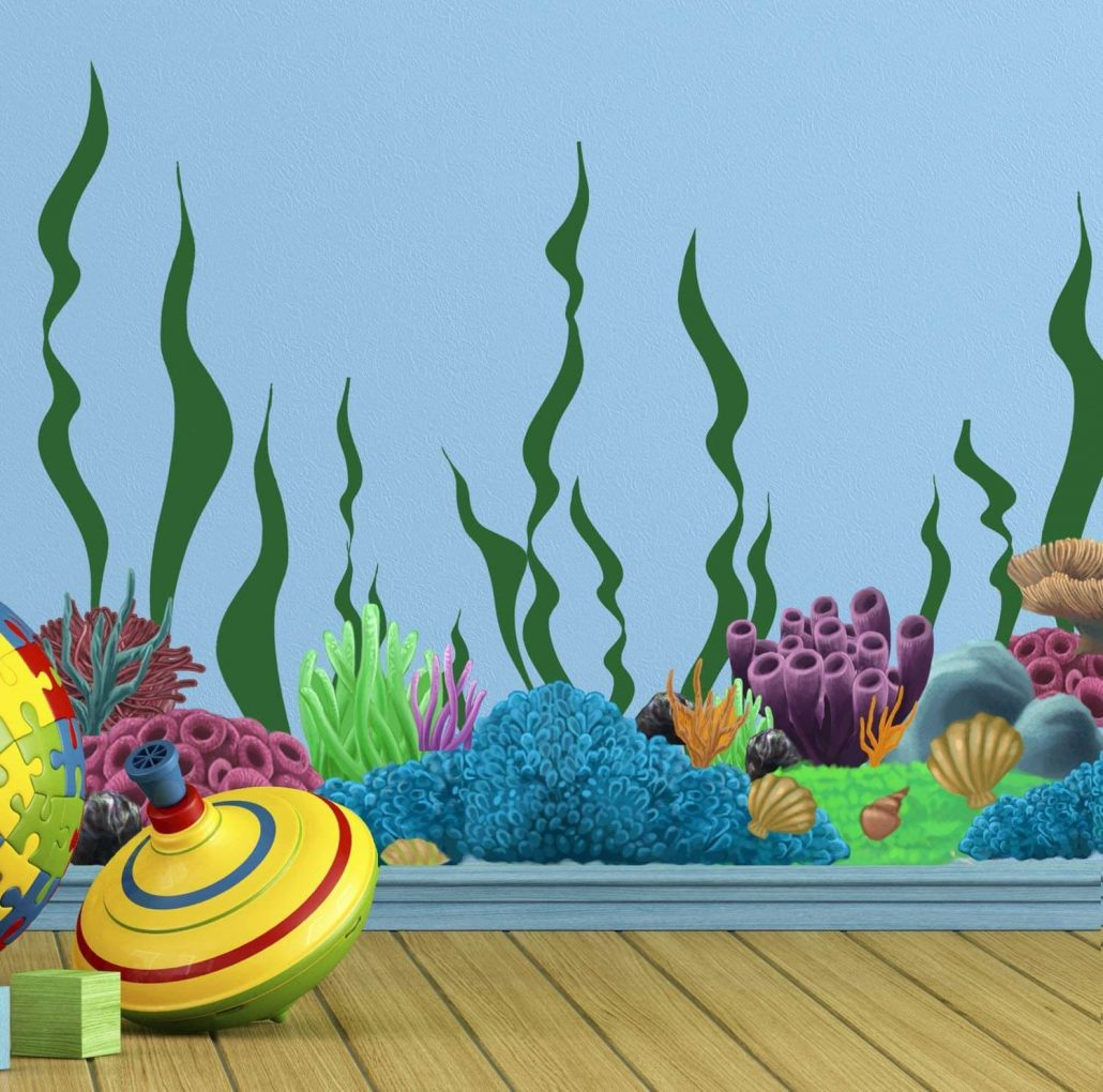 Coral reef ocean wall decals for kids room by Create-a-Mural.