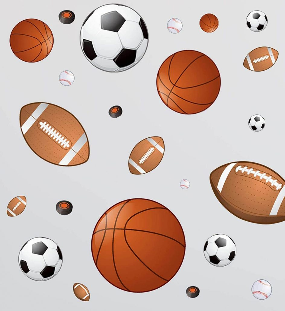 Sports wall decals for boys room by Create-a-Mural.