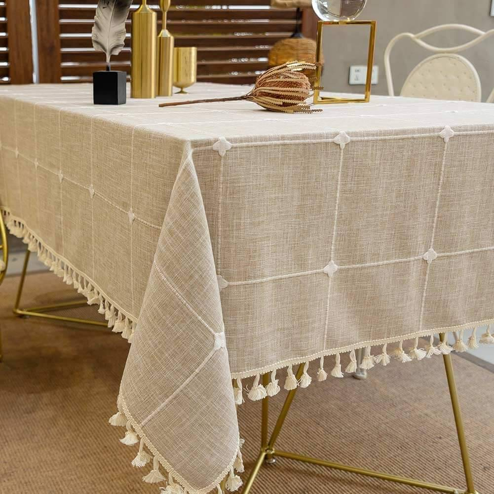 Elegant linen fall tablecloth for home fall decor by Deep Dream.