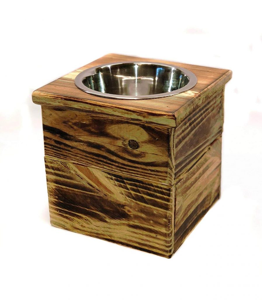 Elevated single bowl dog feeder stand with wood.