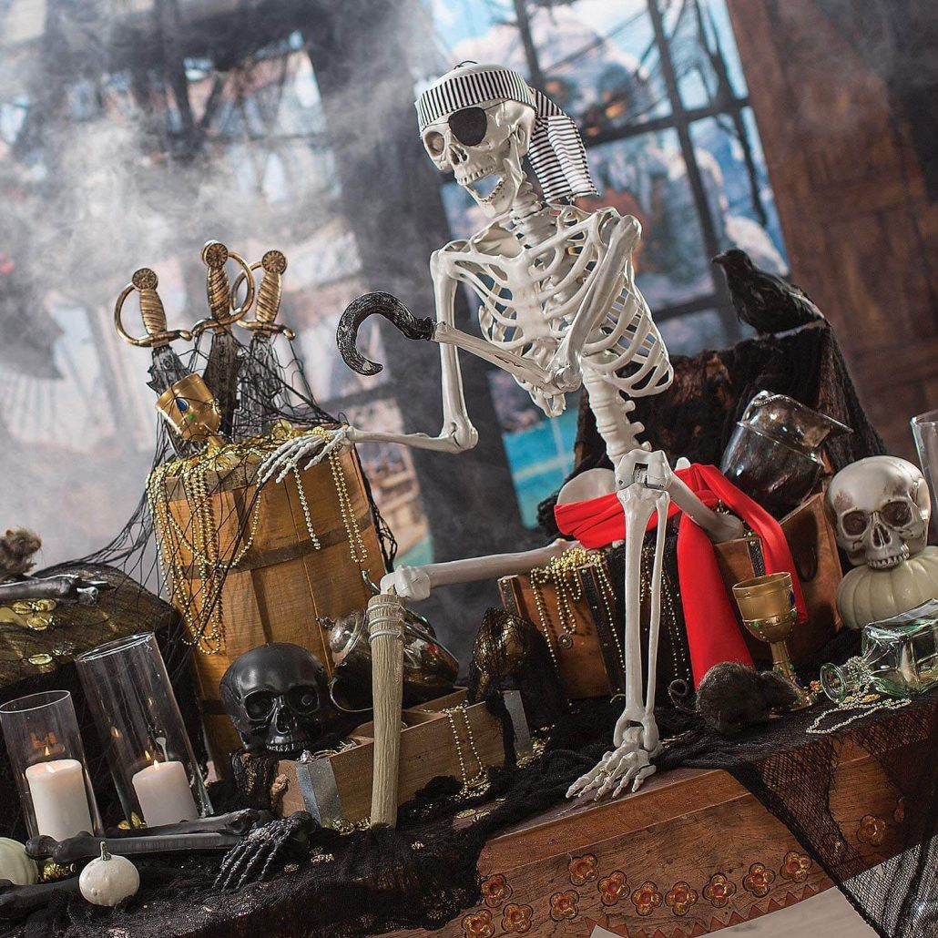 Life size posable pirate skeleton for outdoor Halloween decor.