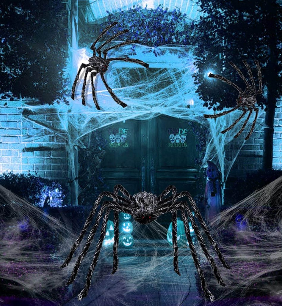 Giant hairy spider for outdoor Halloween decor by Belant.