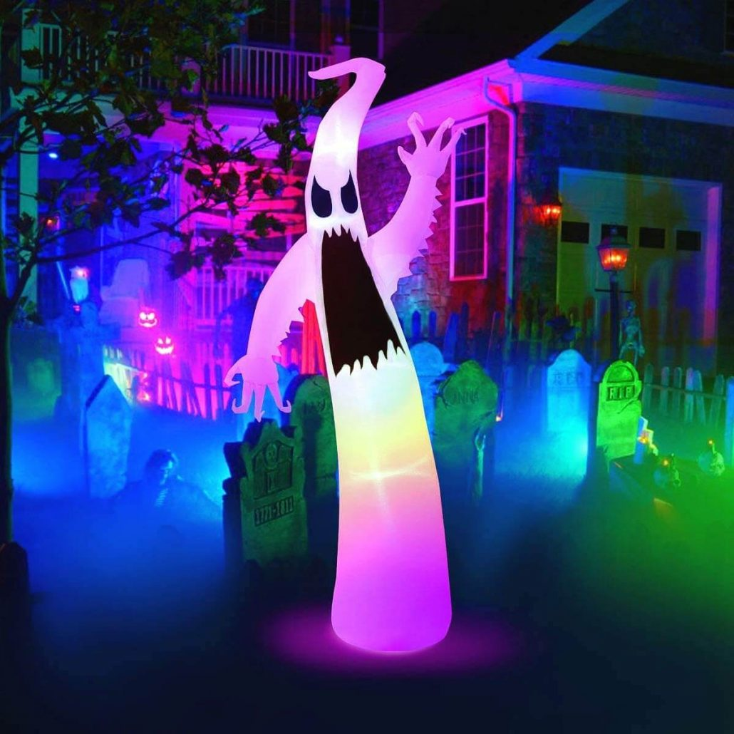 Large inflatable Halloween ghost for outdoor Halloween decor.