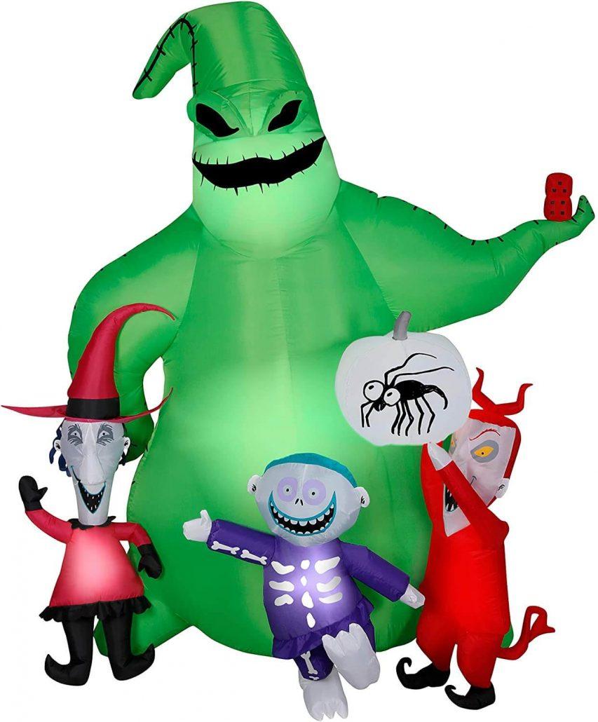 Inflatable Nightmare Before Christmas scene for outdoor Halloween decor.