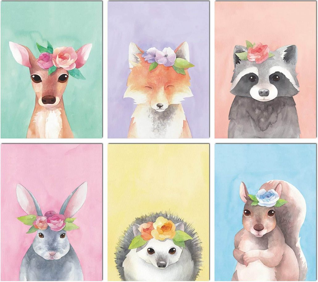 Woodland animal watercolor prints for nursery by L & O Goods.
