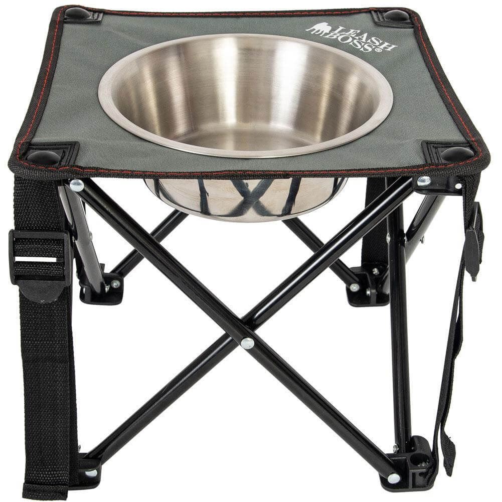 Elevated single bowl raised dog feeder for camping by LeashBoss.