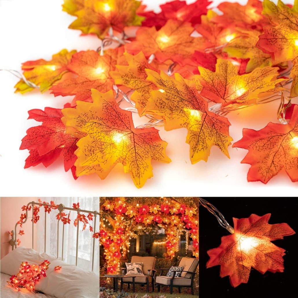 Maple leaf string lights for fall home decor.