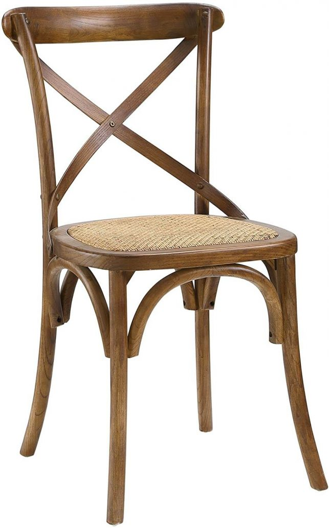 Rustic farmhouse rattan indoor dining chair by Modway Gear.