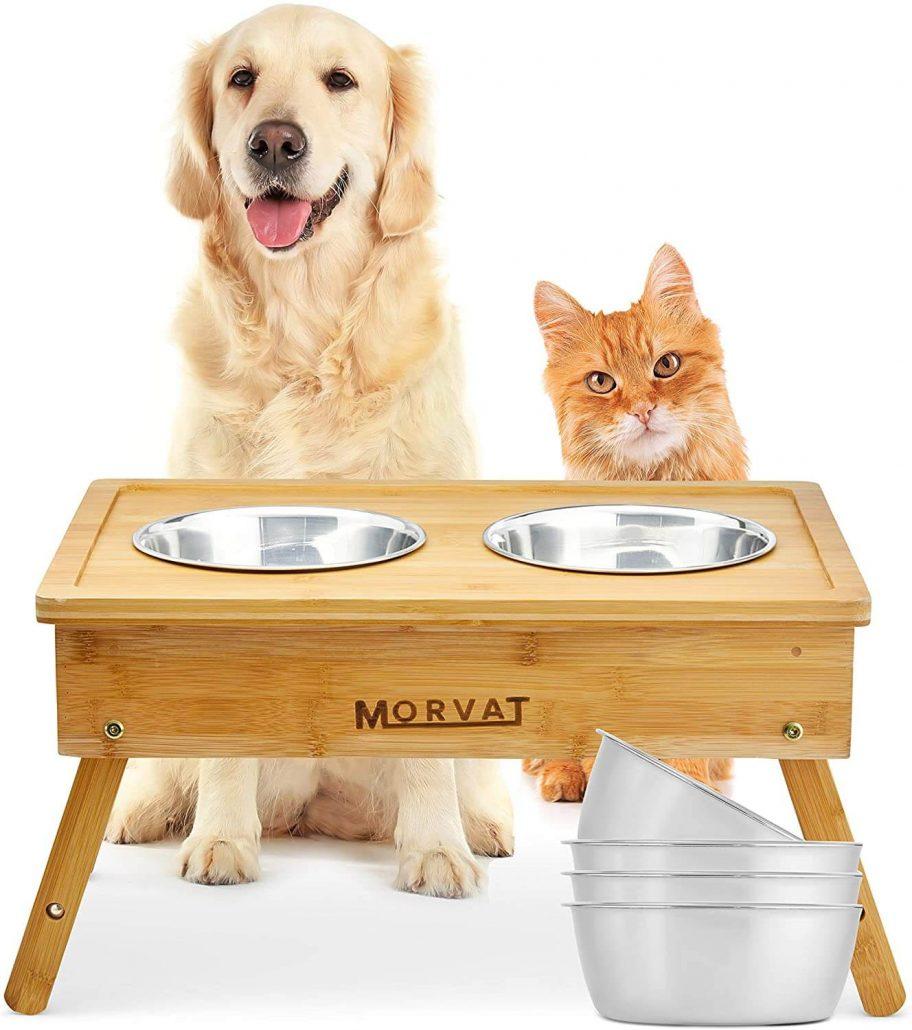 Raised dog bowl feeding station by Morvat.