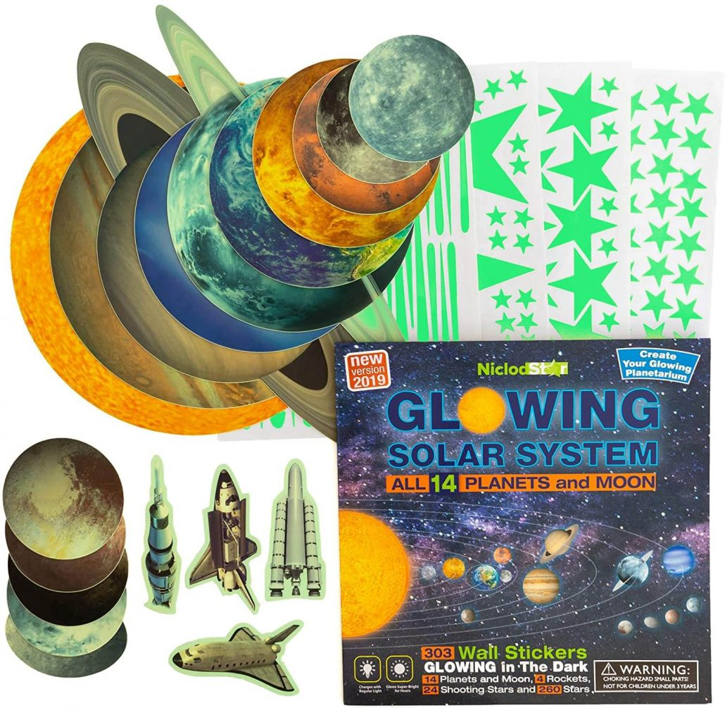 Glow in the dark stars and planets wall stickers for kids room by Niclod.