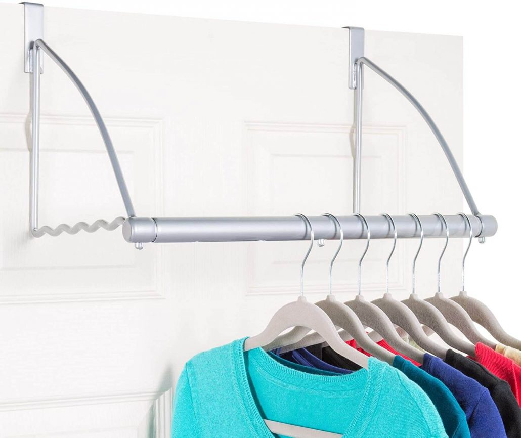 Over the door hanging clothes rack for laundry room by Holdin' Storage.