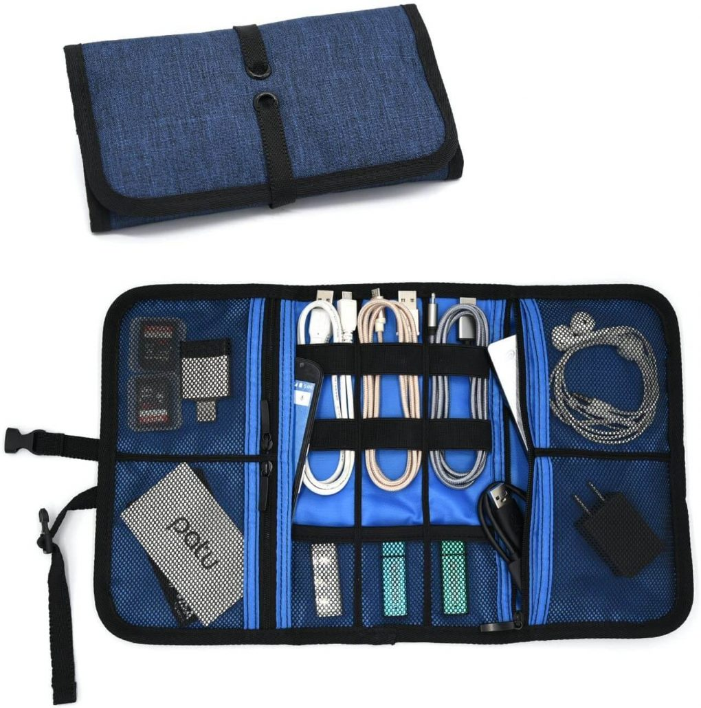 Roll up electronics case organizer for home and travel by Patu.