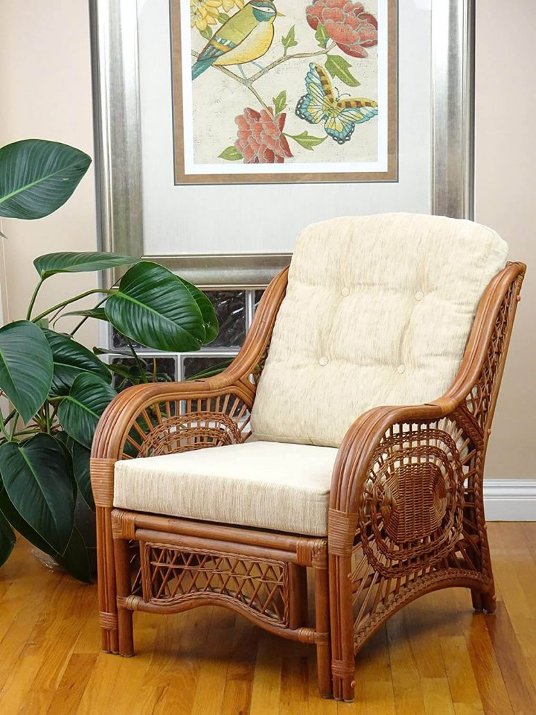 Rattan indoor lounge chair with high back.