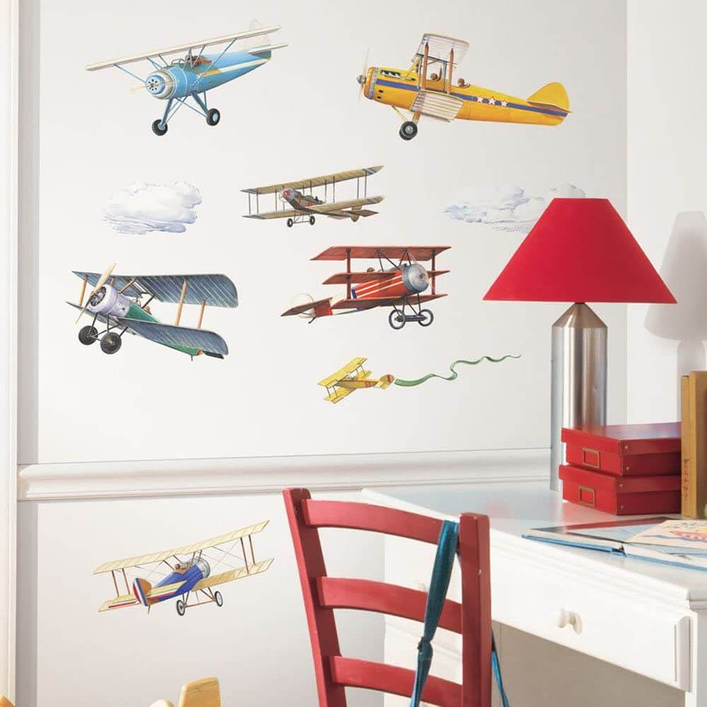 Vintage airplanes wall decals for kids room by RoomMates.
