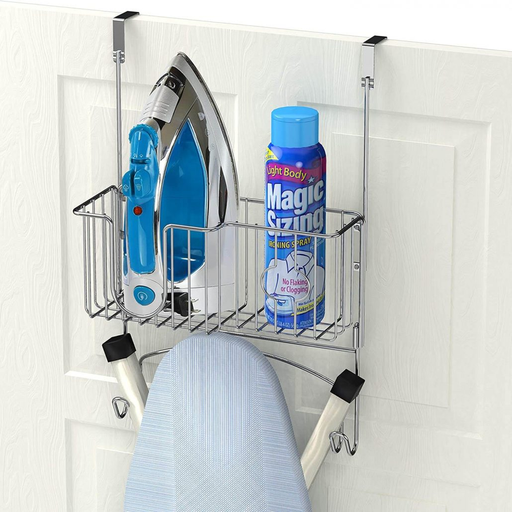 Over the door mounted ironing board rack holder by Simple Houseware.