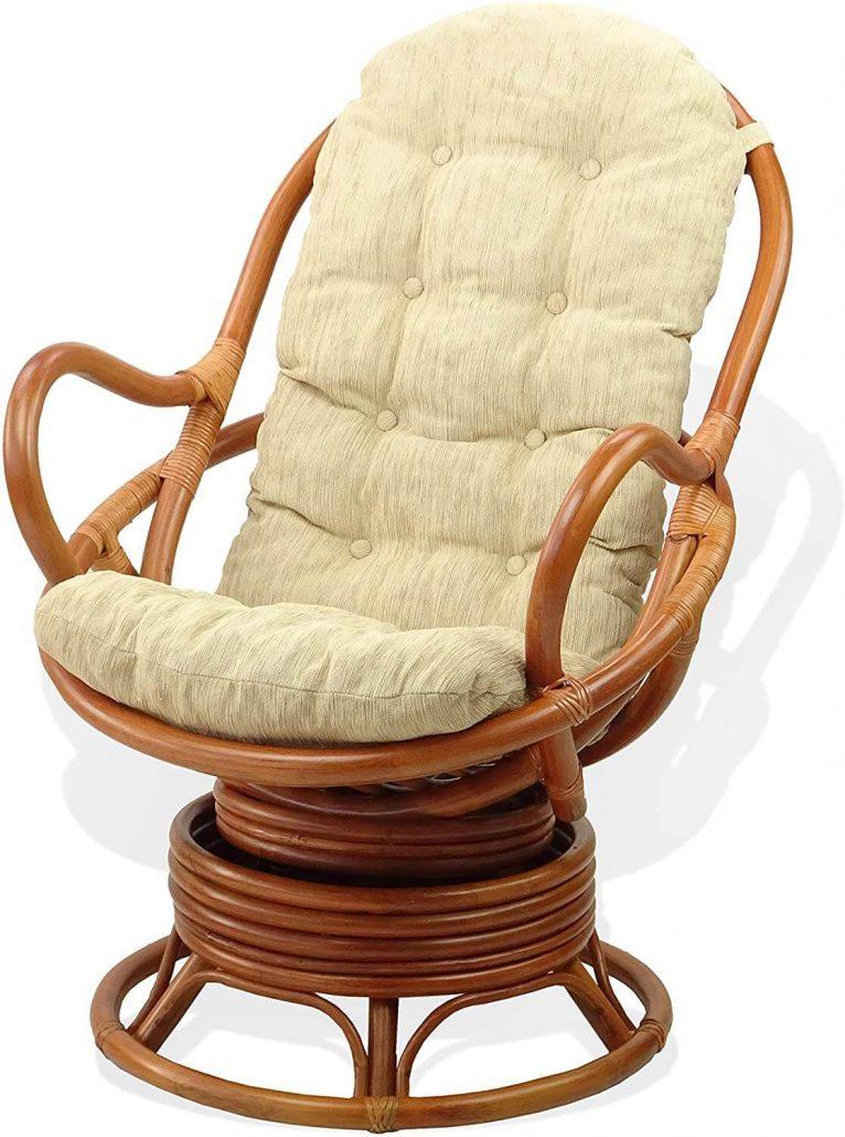 Wicker swivel rocking chair by Sunbear.