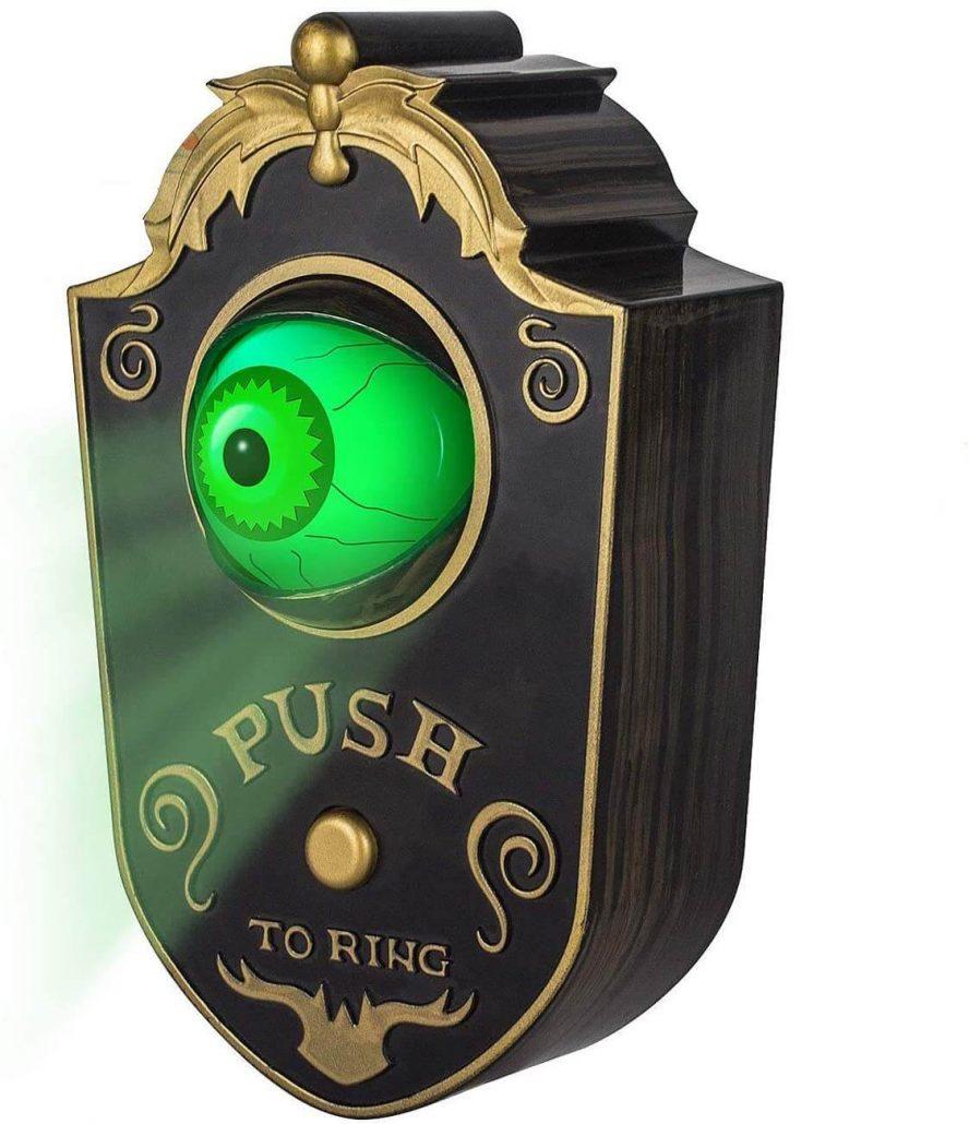 Scary talking eyeball doorbell for Halloween decor.