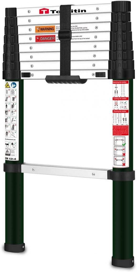 Telescopic and extendable ladder by Toolitin.