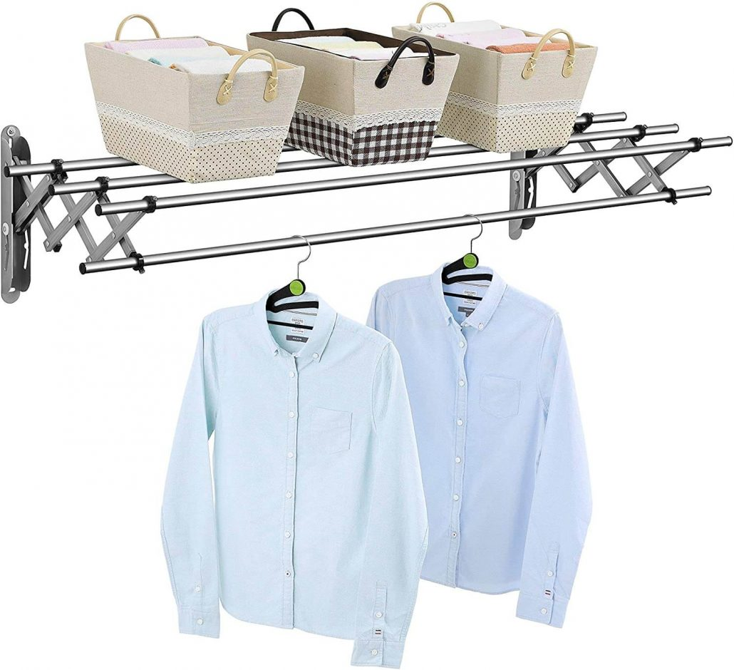 Stainless steel clothing rack for laundry room by Wellex.