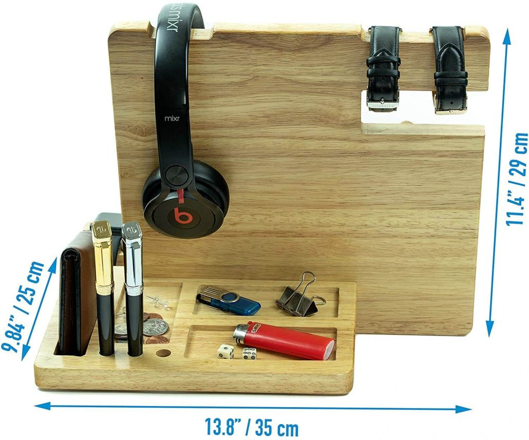 Wutcraft wood personal electronics organizer for home.