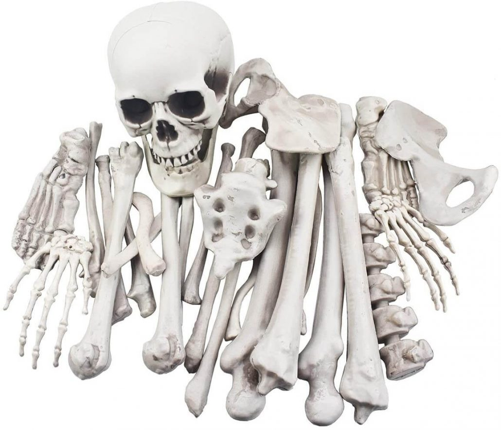 Spooky skeleton decoration for front yard Halloween decor.