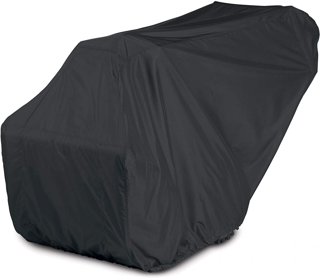 Two-stage snow blower cover by Amazon Basics.