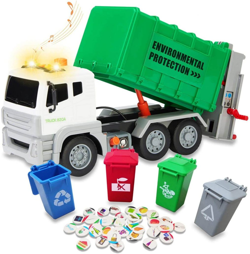 Educational garbage truck toy for toddlers.