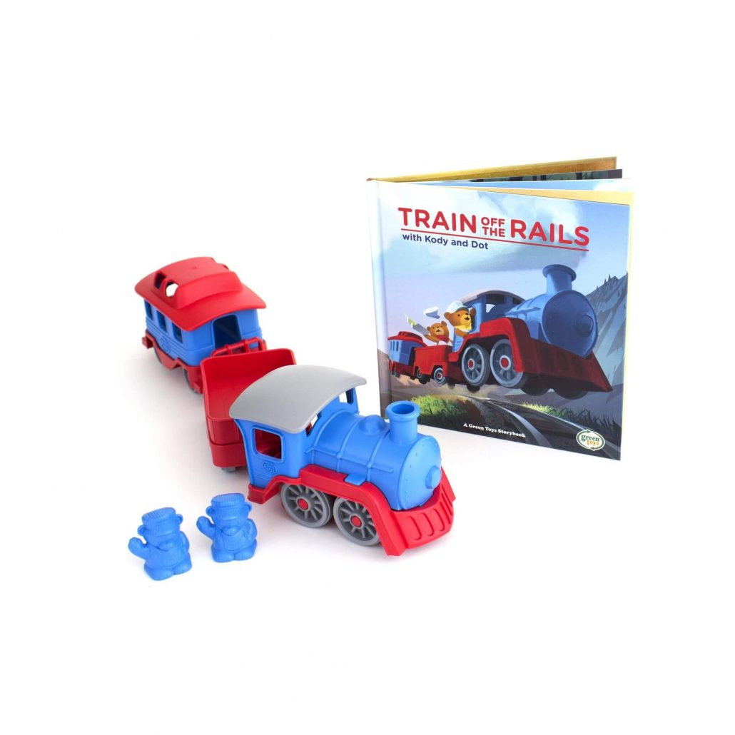 Train and storybook gift set for toddlers by Green Toys.