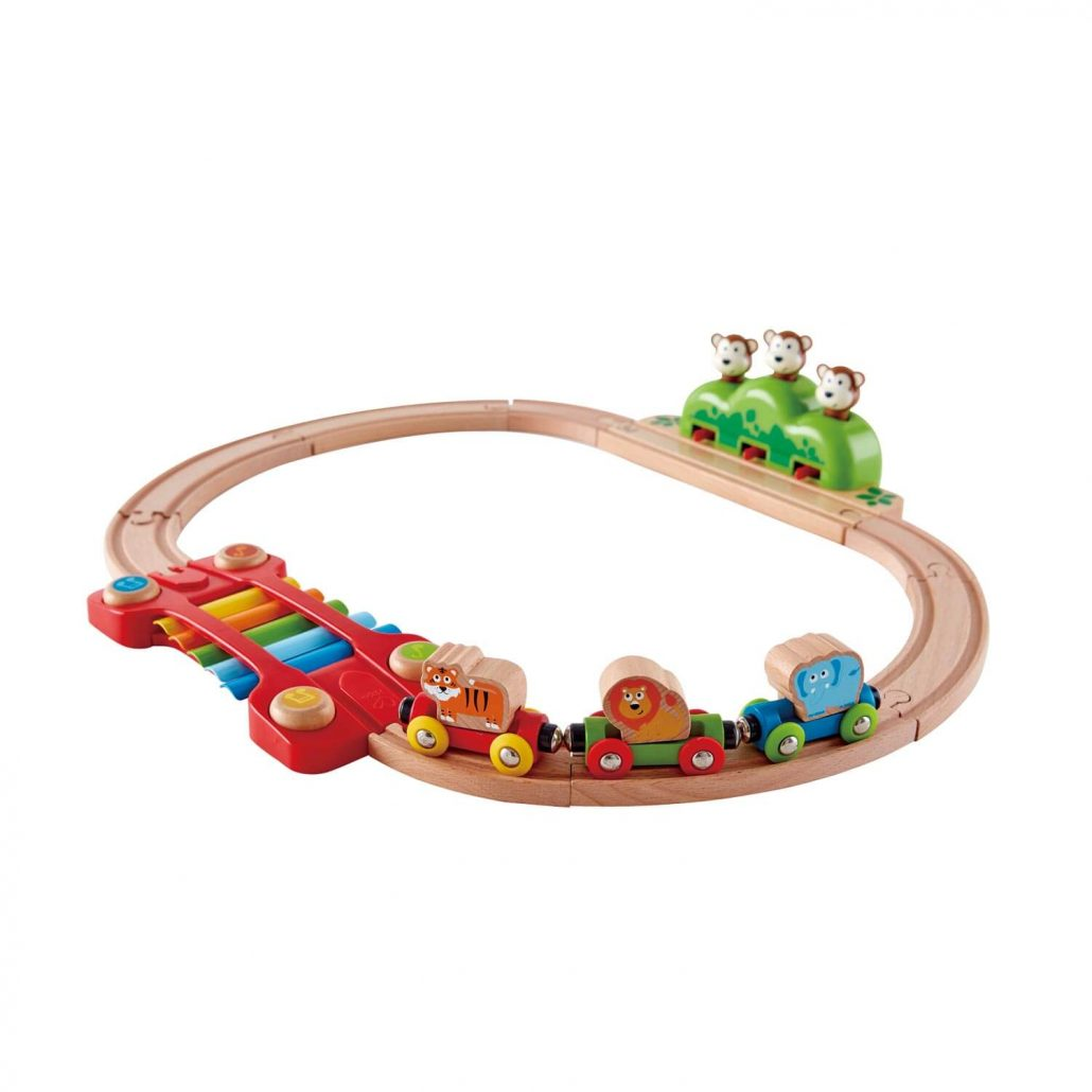 Musical monkey train set for toddlers by Hape.