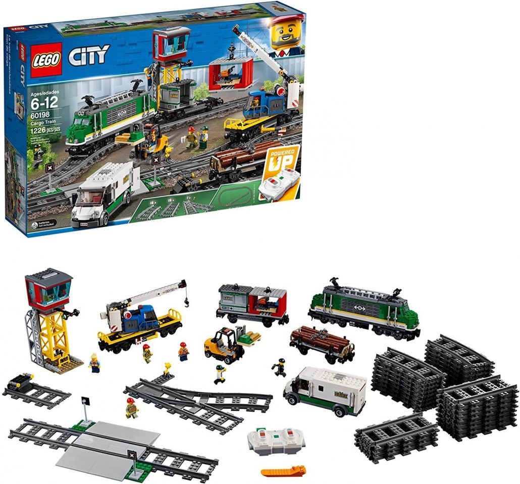 Lego remote control train building set for kids.
