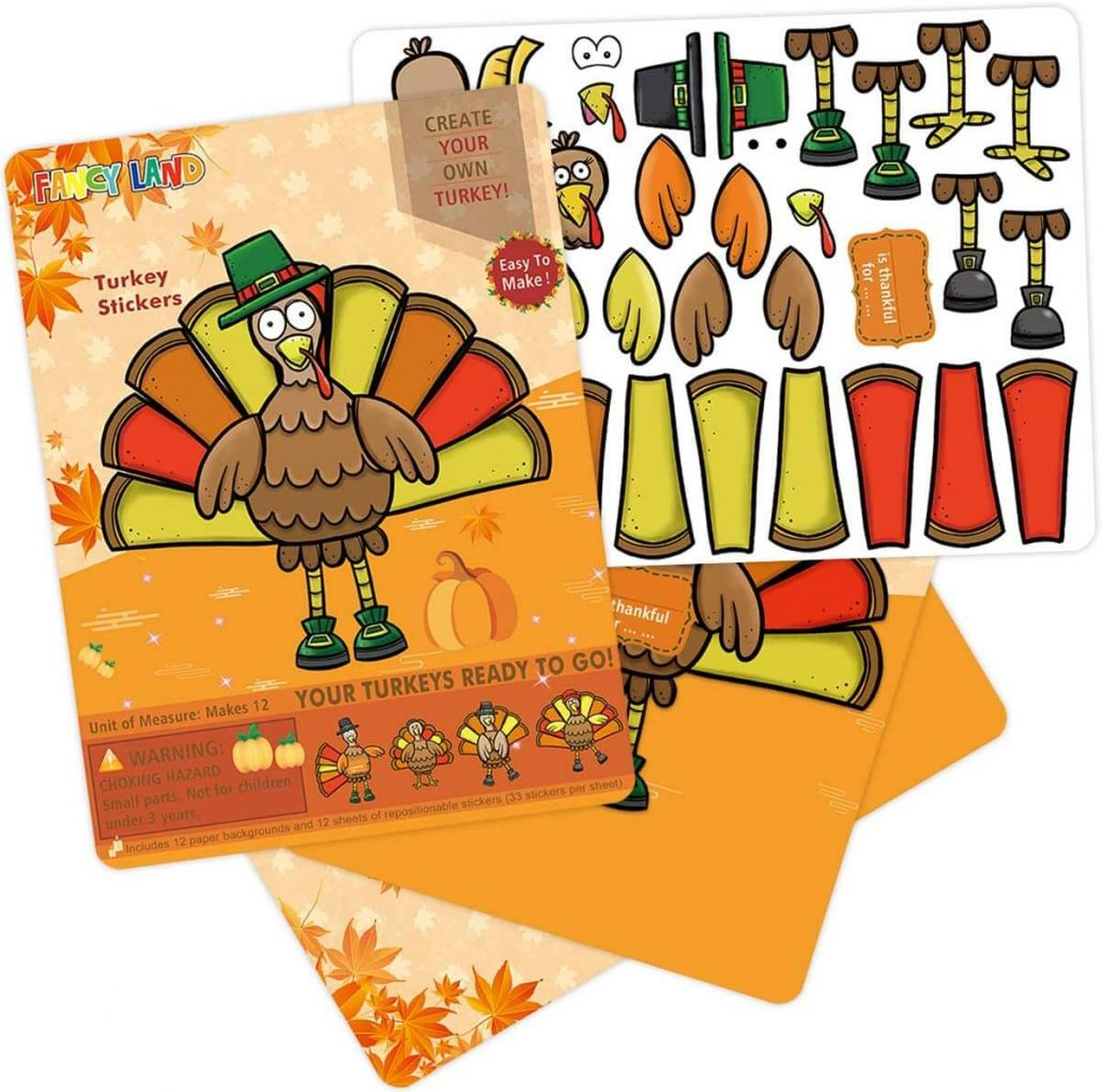 Make-a-Turkey sticker craft kit for kids.