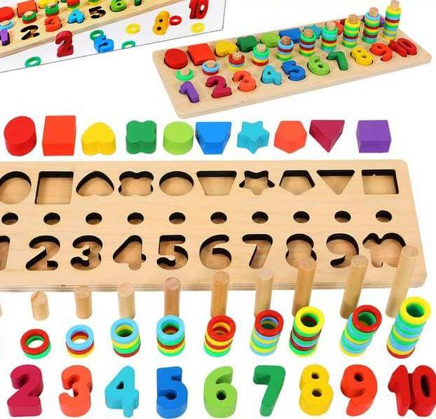 Wooden number puzzle educational toy for toddlers.