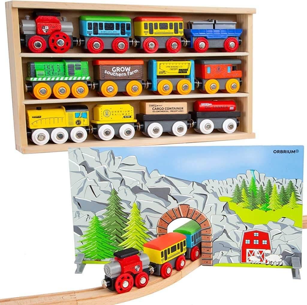 Wooden train set for toddlers by Orbrium.