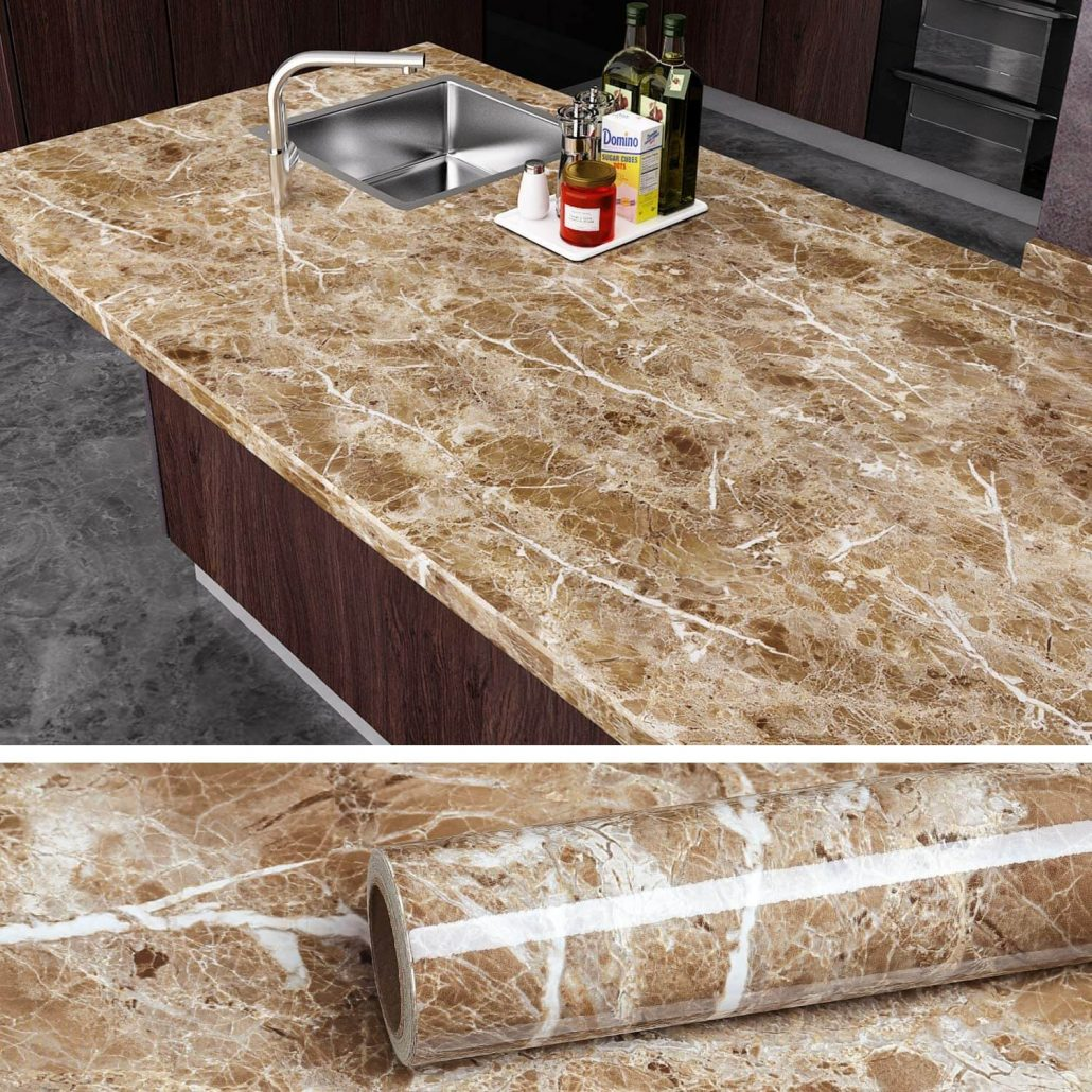 Peel and stick granite brown marble wallpaper for easy home improvement.