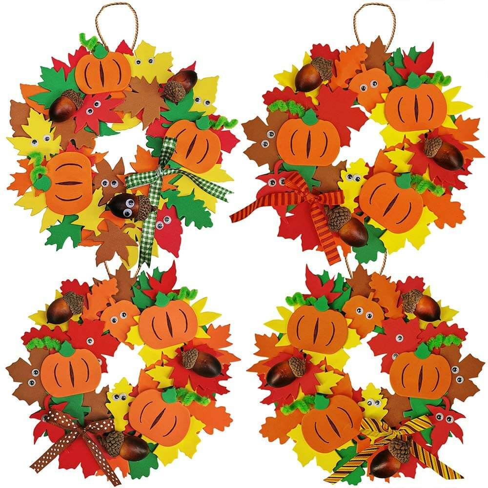 Fall pumpkin wreath craft kit for kids.