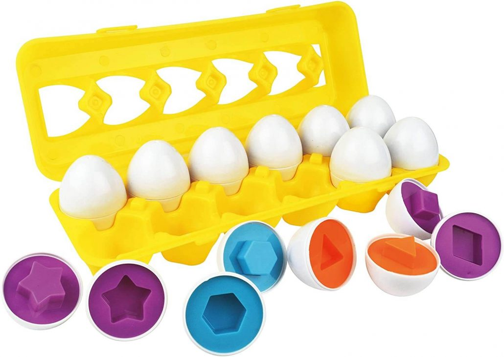 Shape matching egg toy for toddlers by Schoolzy.