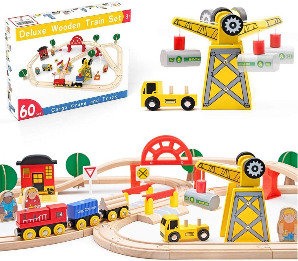 Deluxe wooden train set for toddlers by Tiny Land.