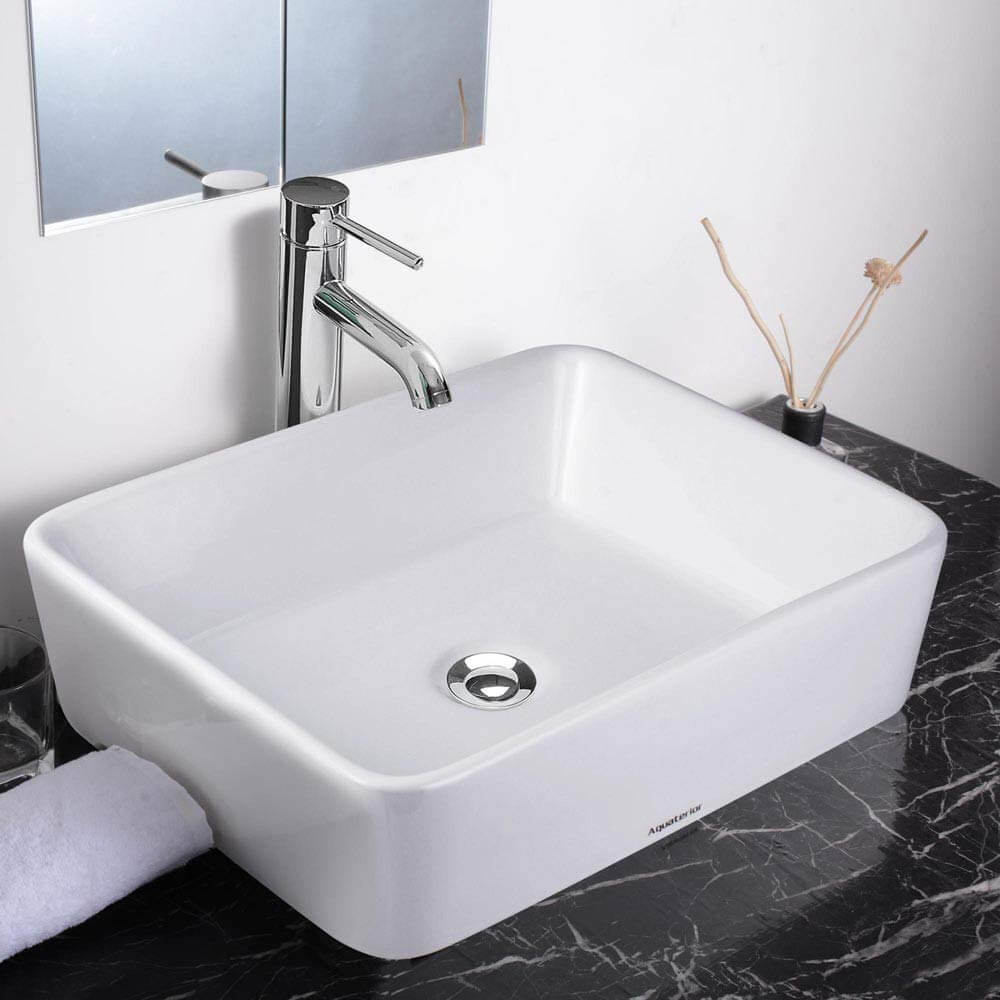 White porcelain sink by Aquaterior.