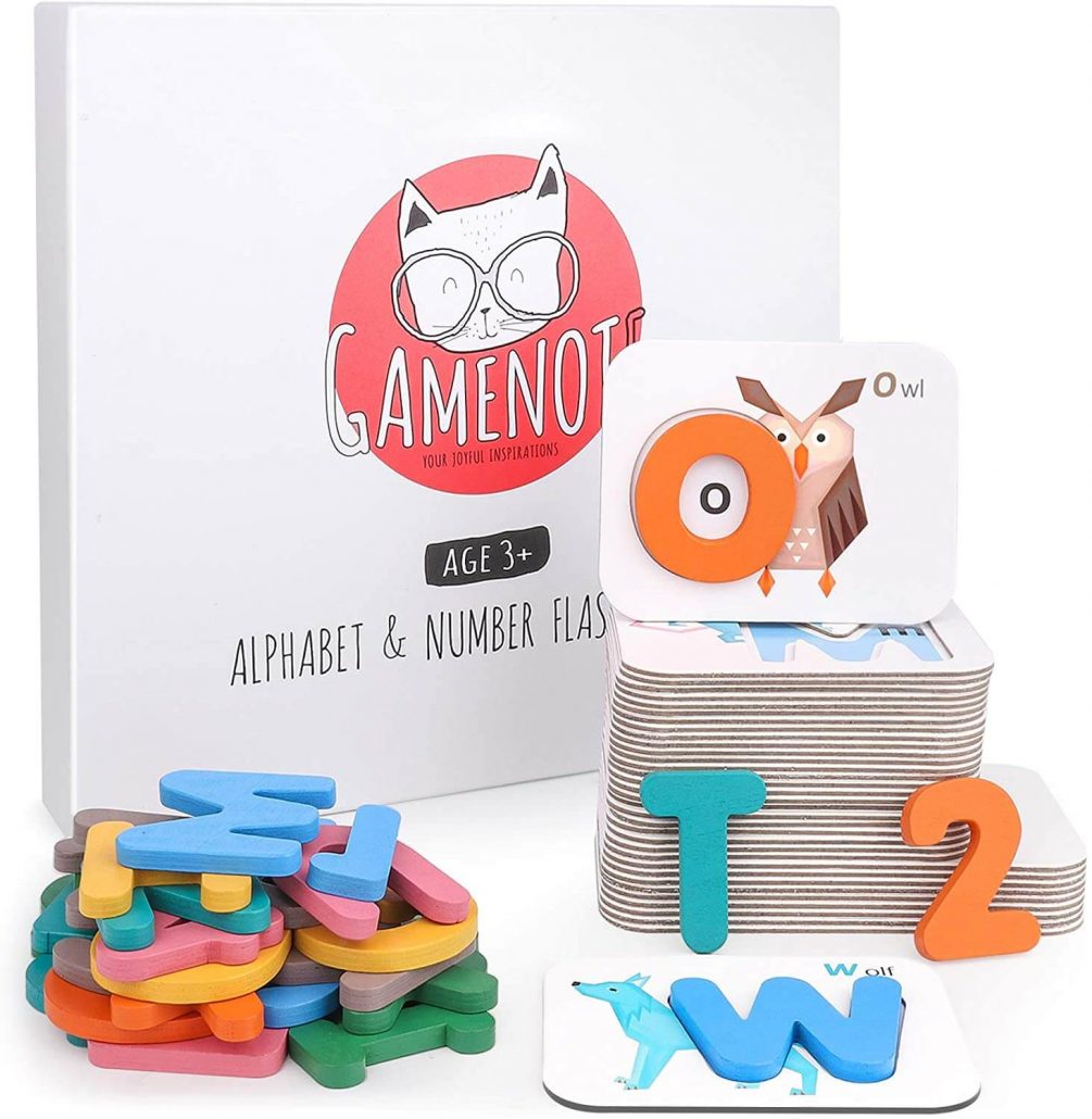 Animals and letters flashcards educational toy for toddlers puzzle.