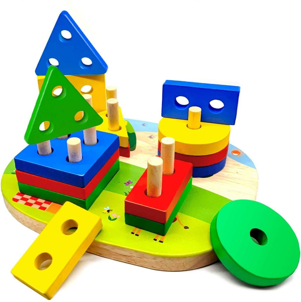 Educational wooden stacking toy for toddlers.