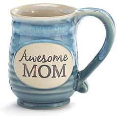 Blue ceramic Awesome Mom mug.