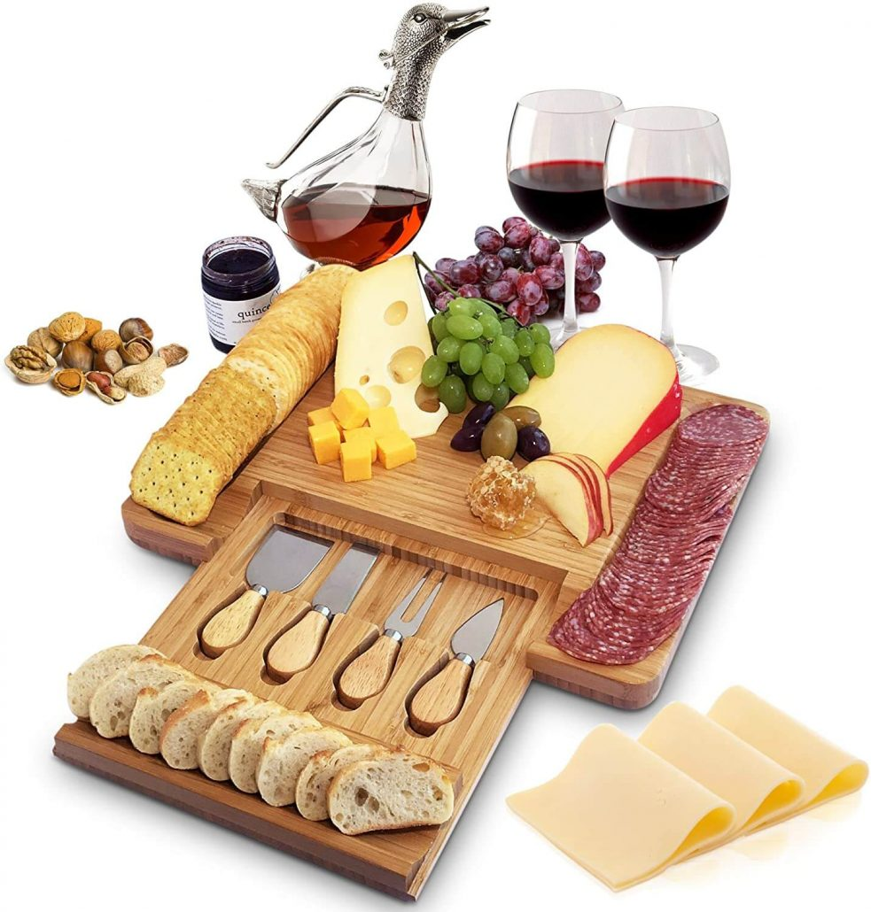 Bamboo charcuterie board Christmas gift for Mom.