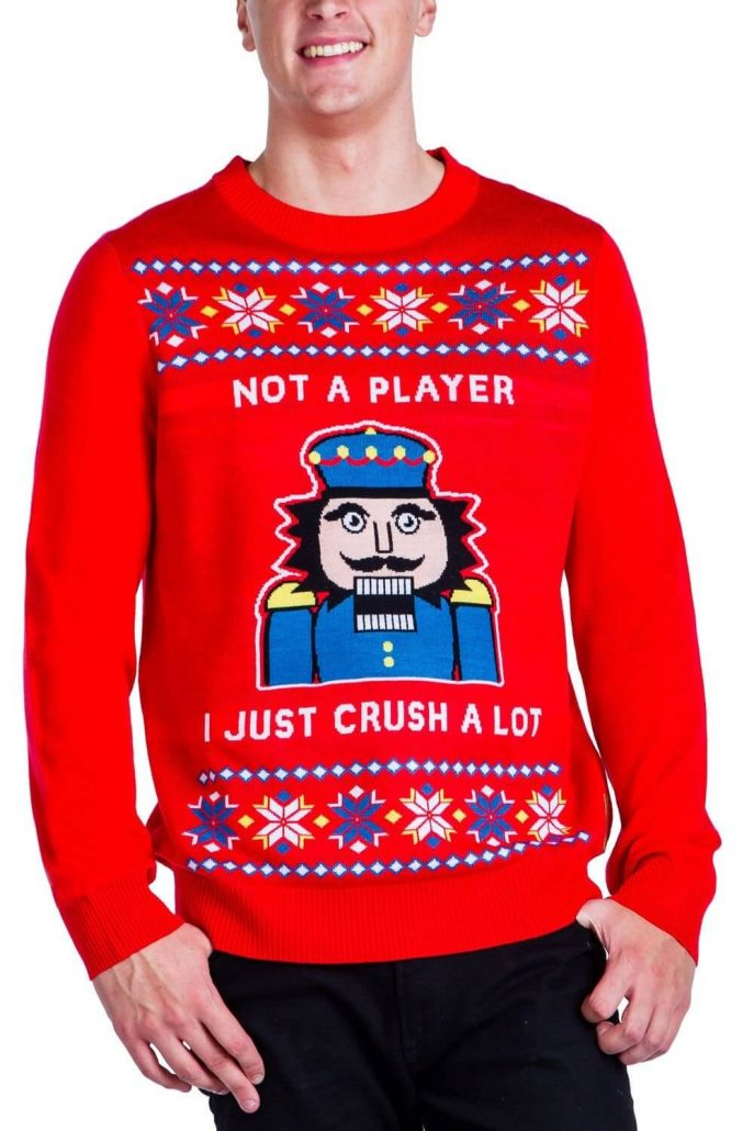 Funny nutcracker ugly Christmas sweater for men.