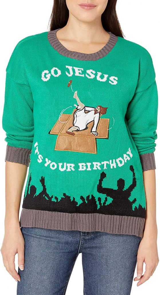 Funny ugly Christmas sweater for women.