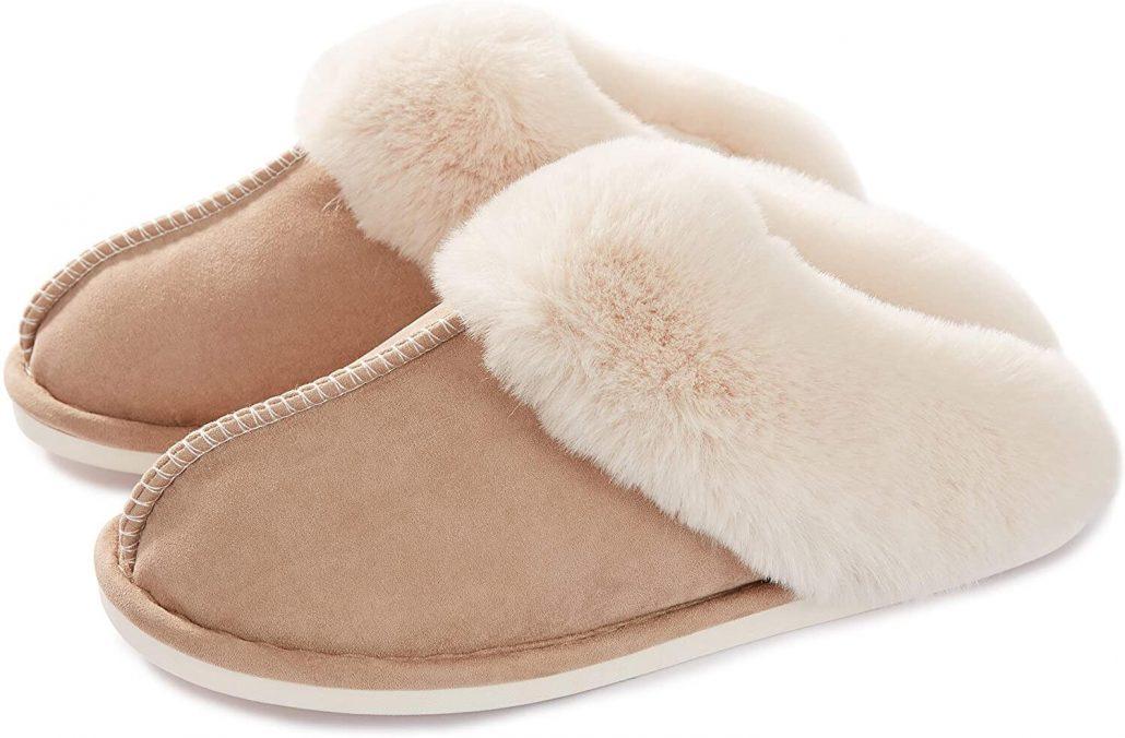 Memory foam fuzzy slippers for women.