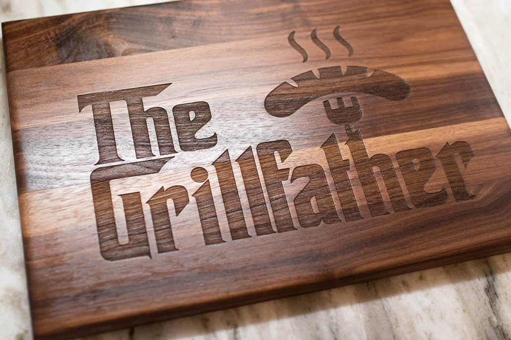 The Grillfather funny wood cutting board for Dad's Christmas gift.